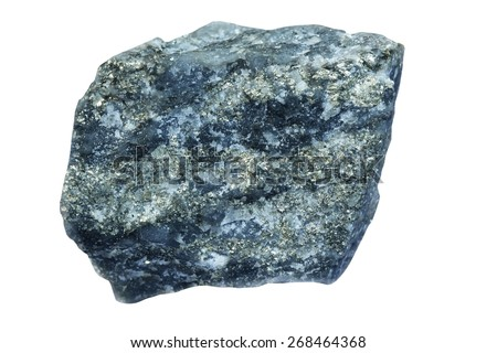 Quartz with pyrites it is isolated on a white background - stock photo