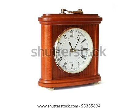 Quartz wooden table clock isolated with path