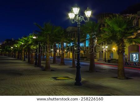 Quay Egyptian resort of Hurghada at night - stock photo