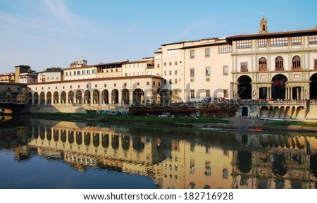 Quay of Arno river with view on old Italian palaces, Florence, Italy. View on Uffizi Gallery.