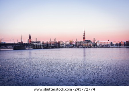 Quay of Daugava river in Riga, Latvia. - stock photo