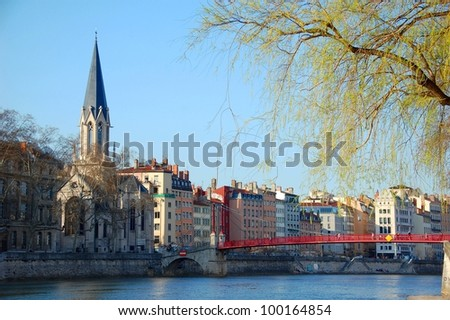 Quay of Saone river in Lyon, France View on the Old Lyon, Fourviere basilica and television tower - stock photo