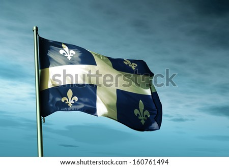 Quebec (Canada) flag waving in the evening - stock photo