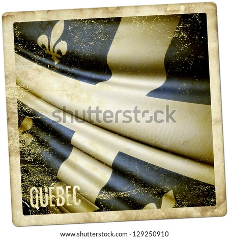Quebec (Canada) grunge sticker - stock photo