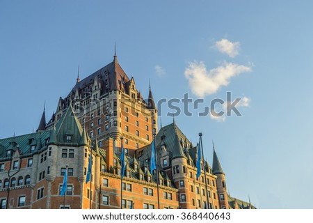 Quebec, Canada - September 25, 2015: Chateau Frontenac in autumn, Quebec City, Canada