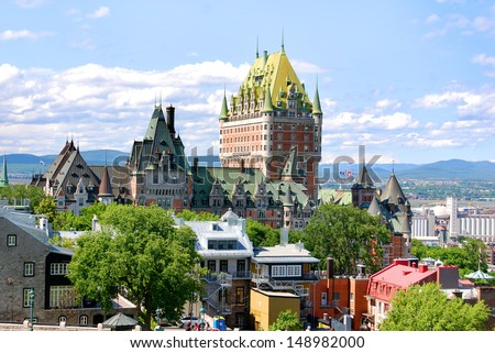 QUEBEC CITY, CANADA - AUGUST 25: Dufferin terrace and Chateau Frontenac of Old Quebec, a UNESCO world heritage treasure on August 25, 2010 in Quebec City, Canada. - stock photo
