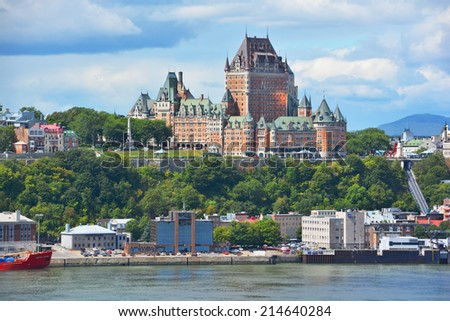 QUEBEC CITY, CANADA - AUGUST 27: From Levis Chateau Frontenac of Old Quebec, a UNESCO world heritage treasure on August 27, 2014 in Quebec City, Canada - stock photo