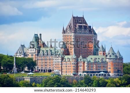 QUEBEC CITY, CANADA - AUGUST 27: From Levis Chateau Frontenac of Old Quebec, a UNESCO world heritage treasure on August 27, 2014 in Quebec City, Canada