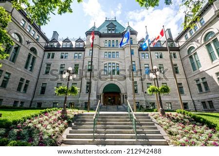 QUEBEC CITY, CANADA- JULY 1 2012: Facade of City Hall of Quebec City. - stock photo