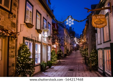 QUEBEC CITY, CANADA - November 27, 2016: Rue du Petit-Champlain at Lower Old Town (Basse-Ville) at night