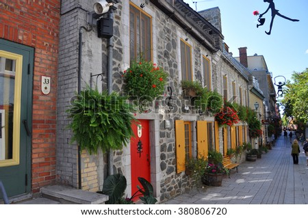 QUEBEC CITY, CANADA - SEP 10: Rue du Petit-Champlain at Lower Town (Basse-Ville) on September 10, 2011 in Quebec City, Quebec, Canada. Historic District of Quebec City is UNESCO World Heritage Site. - stock photo