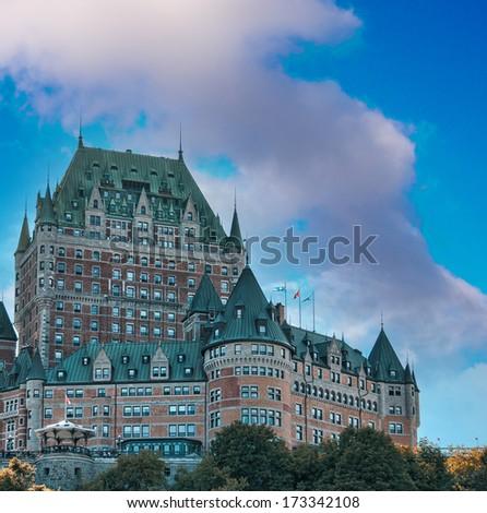 Quebec City, Canada. Upward view of Chateau de Frontanac, city castle with blue sky. - stock photo