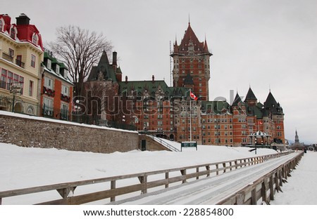 Quebec City in the winter time (Chateau Frontenac) - stock photo