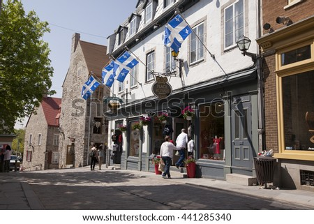 QUEBEC CITY - MAY 24, 2016: The French influence is evident everywhere you look in Place Royale and along Rue du Petit-Champlain, one of the oldest streets in North America.
