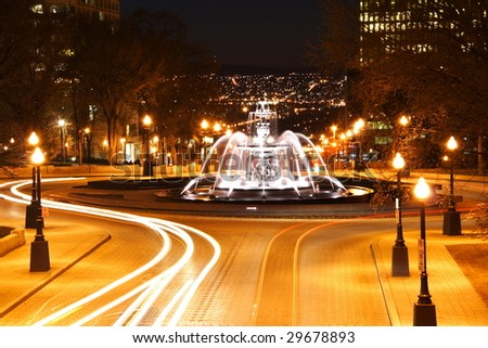 Quebec City night scene in downtown. The fountain is Fontaine de Tourny. Long exposure.
