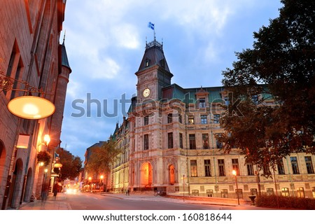 Quebec City old street at dusk - stock photo