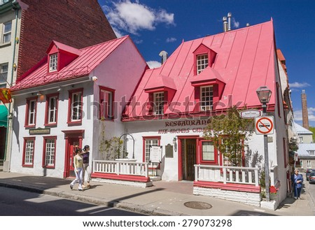 QUEBEC CITY, QUEBEC, CANADA - MAY 30, 2004: Restaurant Aux Anciens Canadiens, in the historic Maison Jacquet (built in 1677), in Old Quebec City. Maison Jacquet is the oldest house in Quebec.