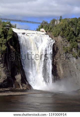 QUEBEC CITY - SEPTEMBER 10: Water flowing at the Montmorency Falls on September 10, 2012 in Quebec City. The falls, at 84 meters (275 ft) high, are the highest in the province of Quebec.