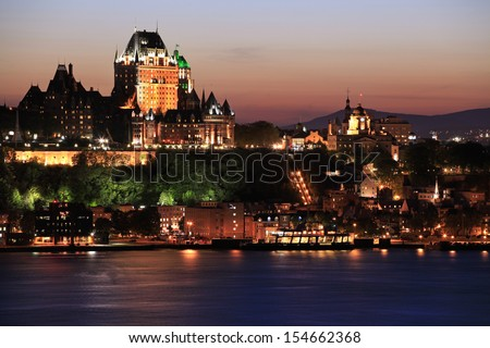 Quebec City skyline at dusk and Saint Lawrence River, Canada - stock photo