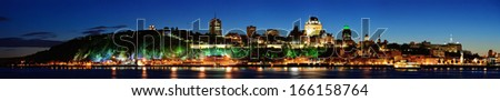 Quebec City skyline panorama at dusk over river - stock photo
