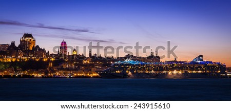 Quebec City Skyline Panorama At Sunset - stock photo