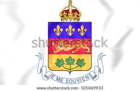 Quebec coat of arms, Canada. 3D Illustration.