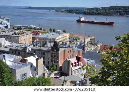 Quebec Lower City and St. Lawrence River in summer, Quebec, Canada. Historic Quebec City is a UNESCO World Heritage Site.  - stock photo