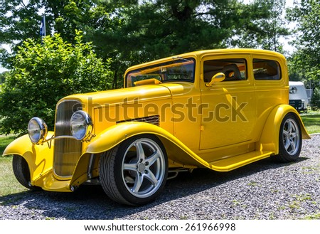 Quebec,Napierville,Canada,-July13-2013: Outside Car show in Napierville Quebec, Canada. This car is a Ford 1932 two-door sedan Hot Rod modified.  - stock photo