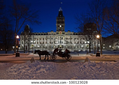 Quebec parliament building in winter night time - stock photo