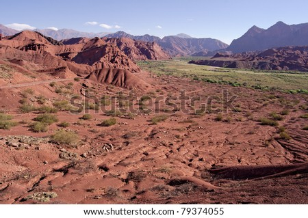 Quebrada de Cafayate in the Valles Calchaquies in Salta province, Argentina - stock photo
