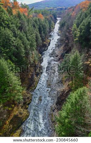 Quechee Gorge and Ottauquechee River - Hartford, Vermont - stock photo
