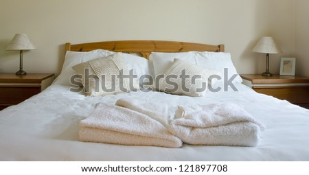 Queen bed - stock photo