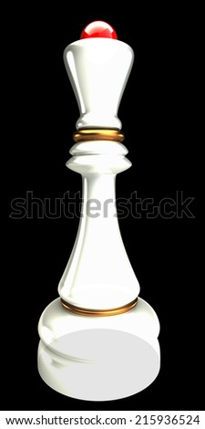 Queen chess isolated on black background 3d render