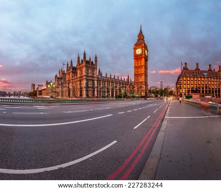 Queen Elizabeth Clock Tower and Westminster Palace in the Morning, London, United Kingdom - stock photo
