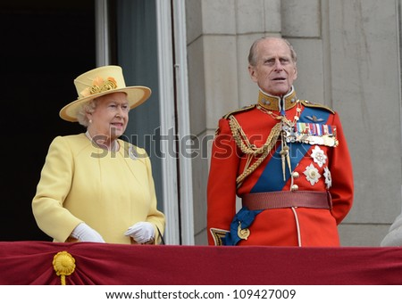 Queen Elizabeth II and Duke of Edinburgh attend the Trooping Of The Colour at Horse Guards Parade, London, UK. June 16, 2012, Picture: Catchlight Media / Featureflash