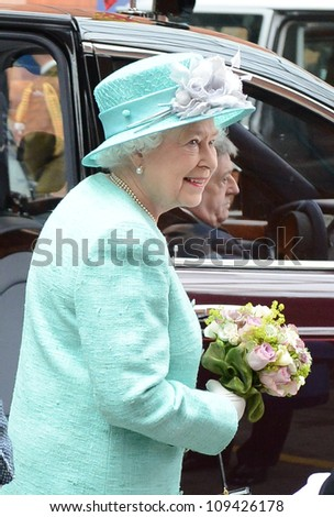 Queen Elizabeth II arrives in Nottingham during the Royal Jubilee Tour. Nottingham, UK. June 13, 2012, Nottingham, UK Picture: Catchlight Media / Featureflash - stock photo