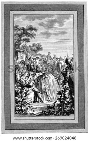 Queen Marie Antoinette by alms, vintage engraved illustration.  - stock photo