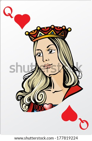 Queen of heart. Deck romantic graphics cards - stock photo