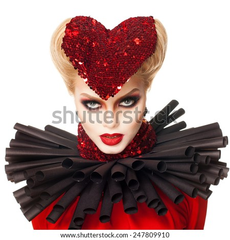 queen of hearts. valentines day - stock photo