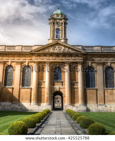 Queen's College Oxford UK. Main quad - stock photo