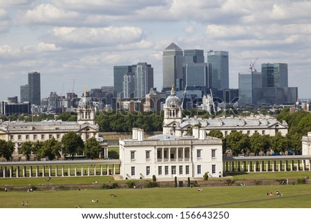 Queen's House in Greenwich and Canary Wharf,London, Great Britain - stock photo