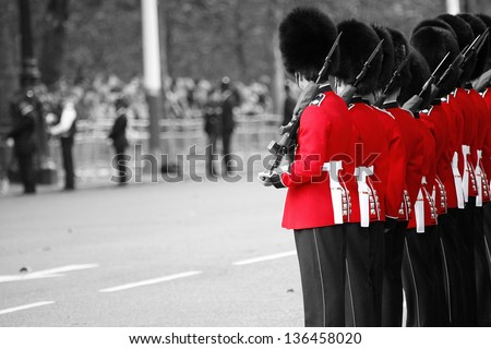 Queen's Soldier at Queen's Birthday Parade. - stock photo