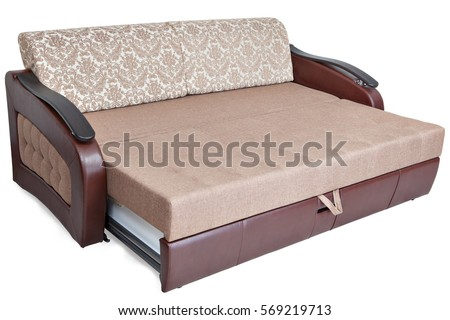 Queen Size Pull Out Sofa Bed Light Brown Fabric And Storage Space, Isolated