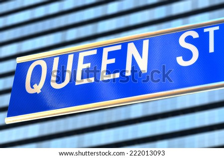 Queen Street signpost. A major commercial thoroughfare and main population center in in Brisbane Queensland, Australia.