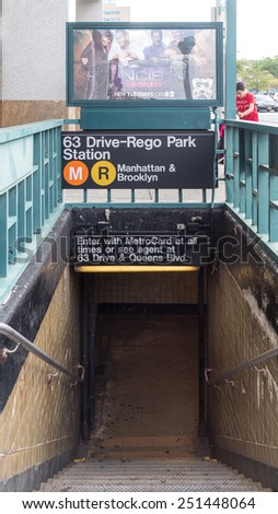 Queens, New York - Aug 19: The entrance of 63 Drive-Rego Park Subway Station leads to the M and R trains to Manhattan and Brooklyn, August 19, 2014, Queens, New York. - stock photo