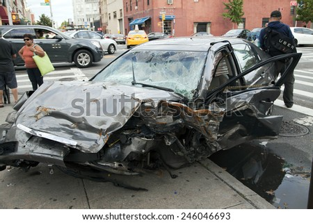 QUEENS, NEW YORK - JULY 2: Car wreck on Vernon Boulevard.   Taken July 2, 2014 in Queens, NY.
