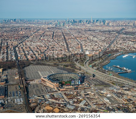 QUEENS,NY - APRIL 5: Citifield Stadium in Flushing Meadows-Corona Park in the New York City borough of Queens on april 5th,2015.It is the home baseball park of Major League Baseball's New York Mets - stock photo