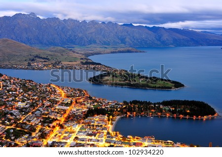 Queens town at twilight, south island, new zealand