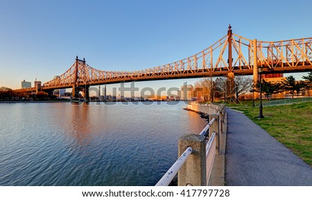 Queensboro Bridge, New York City at sunrise - stock photo