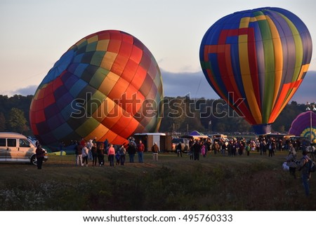 QUEENSBURY, NY - SEP 24: Balloon launch at the 2016 Adirondack Hot Air Balloon Festival held from Sep 22-25. Thousands of people attended the festival - the largest of its kind on the East coast.